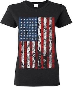 Women's Vintage American Flag T-Shirt