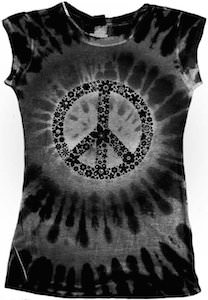 Black Tie Die Peace Symbol T-Shirt