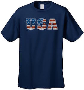 USA Star And Stripes Flag Letters T-Shirt