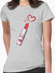 Lipstick And Hearts T-Shirt