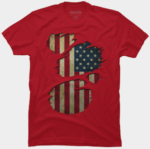 USA Flag Inside T-Shirt