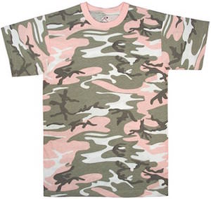Women's Green And Pink Camo T-Shirt