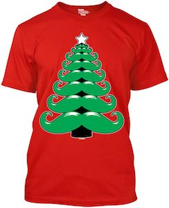 Christmas Moustaches Tree T-shirt