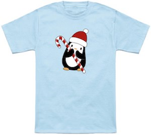 Penguin Holding A Candy Cane Christmas T-Shirt