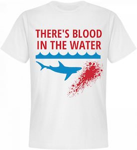 shark there 39 s blood in the water t shirt mustgetshirt. Black Bedroom Furniture Sets. Home Design Ideas