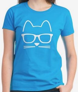 Hipster Cat Face T-Shirt