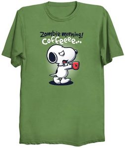 Zombie Snoopy Needing Coffee T-Shirt