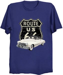 Route 66 With A Cadillac T-Shirt