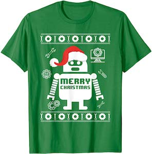 Festive Robot Merry Christmas T-Shirt