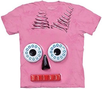 Pink Robot Face T-Shirt