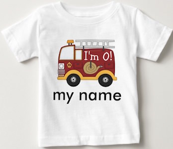 Personalized Kids Firetruck Birthday T-Shirt