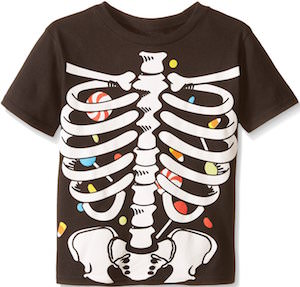 Kids Skelton And Candy Halloween T-Shirt