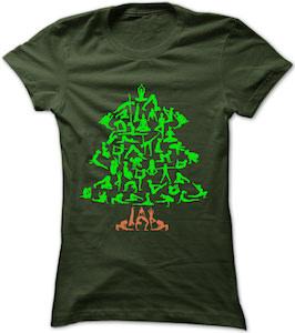 Christmas Tree Made Up Of Yoga Poses T-Shirt