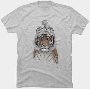 Winter Hat Wearing Siberian Tiger T-Shirt