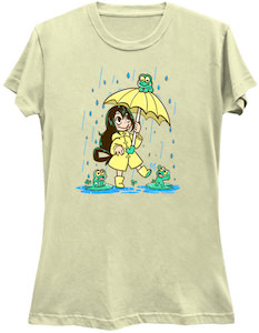 Girl And Frogs Playing In The Rain T-Shirt