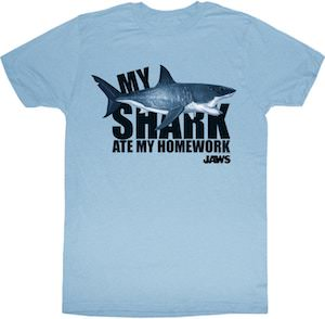 My Shark Ate my homework t-shirt from Jaws