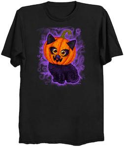 Halloween Pumpkin Head Cat T-Shirt