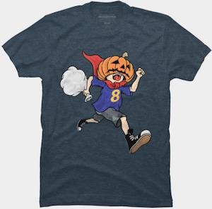 Pumpkin Head Running Boy T-Shirt