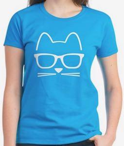 Hipster Cat Face T-Shirt