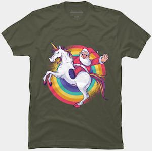 Santa On A Unicorn T-Shirt