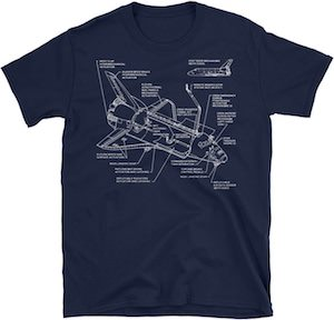 Space Shuttle Blueprint T-Shirt